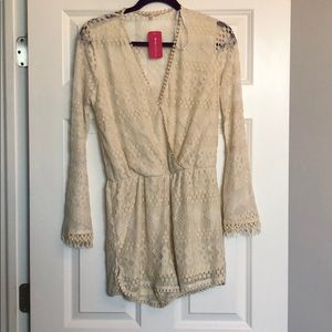 M/L Cream Lace Love Culture Romper NEW WITH TAGS